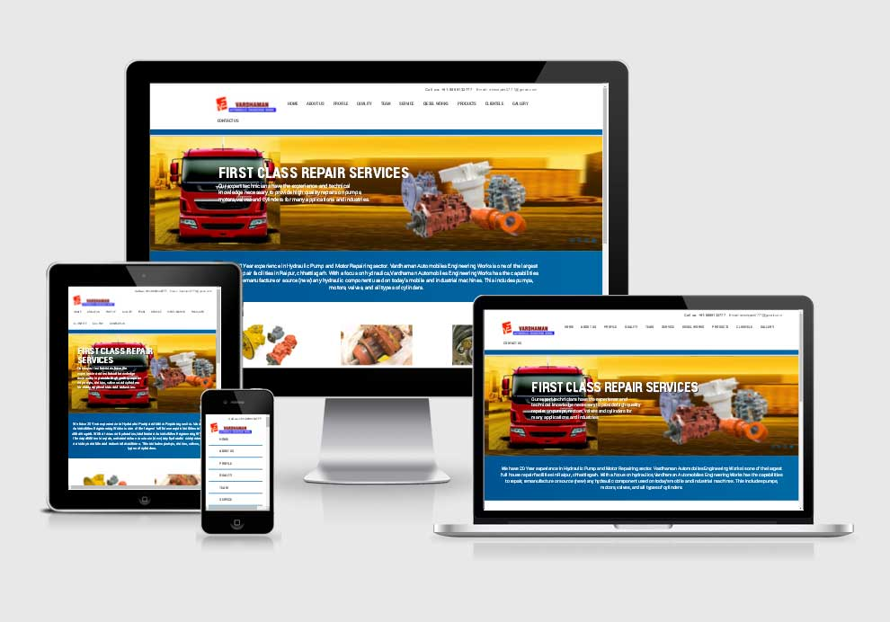 Vardham Anautomobiles Engineering Works website design company in raipur